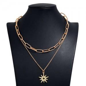 Rhinestone Star Pendant Dual Layers Hip Hop Fashion Alloy Costume Necklace