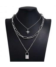 Star and Lock Pendant Triple Layers U.S. High Fashion Women Alloy Costume Necklace - Silver