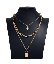 Star and Lock Pendant Triple Layers U.S. High Fashion Women Alloy Costume Necklace - Golden