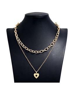 Rhinestone Eye Heart Pendant Dual Layers U.S. High Fashion Women Alloy Costume Necklace