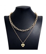 Rhinestone Eye Heart Pendant Dual Layers U.S. High Fashion Women Alloy Costume Necklace