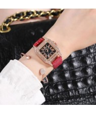 5 Colors Available Rhinestone Inlaid Square Shape Roman Numeral Index Women PU Wrist Watch