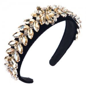 U.S. High Fashion Leaves Rhinestone Velvet Bejeweled Headband - Champagne