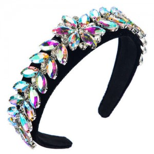 U.S. High Fashion Leaves Rhinestone Velvet Bejeweled Headband - Multicolor