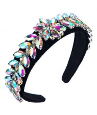 U.S. High Fashion Leaves Rhinestone Velvet Bejeweled Headband - Multicolor
