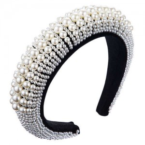Pearl Embellished Baroque Fashion Luxurious Bejeweled Women Headband