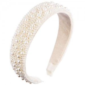 European and U.S. High Fashion Pearl Inlaid Beads Fashion Women Headband/ Hair Hoop