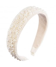 European and U.S. High Fashion Pearl Inlaid Beads Fashion Women Headband/ Hair Hoop