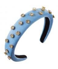 Glistening Rhinestone Embellished Cloth Fashion Women Bejeweled Headband/ Hair Hoop - Blue
