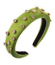 Glistening Rhinestone Embellished Cloth Fashion Women Bejeweled Headband/ Hair Hoop - Green