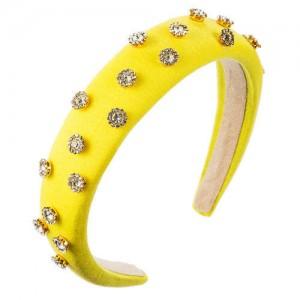 Glistening Rhinestone Embellished Cloth Fashion Women Bejeweled Headband/ Hair Hoop - Yellow