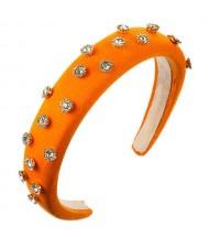 Glistening Rhinestone Embellished Cloth Fashion Women Bejeweled Headband/ Hair Hoop - Orange