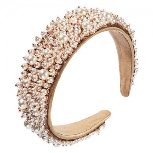 Baroque Style Internet Celebrity Choice Pearl Fashion Women Handmade Bejeweled Headband
