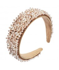 Baroque Style Internet Celebrity Choice Pearl Fashion Women Handmade Bejeweled Headband