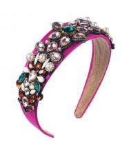Creative Baroque Style Flowers Spring Fashion Women Bejeweled Headband/ Hair Hoop - Rose