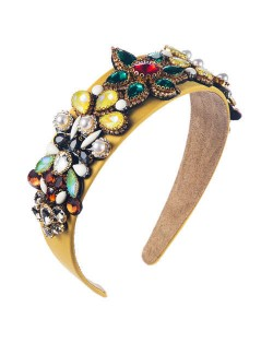 Creative Baroque Style Flowers Spring Fashion Women Bejeweled Headband/ Hair Hoop - Yellow