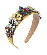 Creative Baroque Style Flowers Spring Fashion Women Bejeweled Headband/ Hair Hoop - Yellow