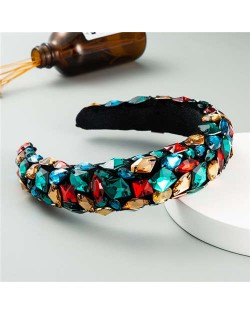 Handmade Resin Gems Glistening Fashion Baroque Design Women Bejeweled Headband/ Hair Hoop - Green