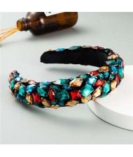 Handmade Resin Gems Glistening Fashion Baroque Design Women Bejeweled Headband/ Hair Hoop - Green