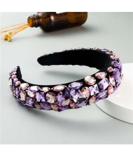 Handmade Resin Gems Glistening Fashion Baroque Design Women Bejeweled Headband/ Hair Hoop - Violet