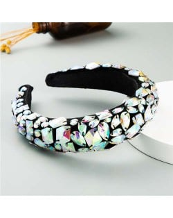 Handmade Resin Gems Glistening Fashion Baroque Design Women Bejeweled Headband/ Hair Hoop - Colorful White