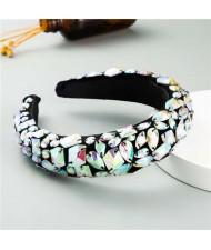 Handmade Resin Gems Glistening Fashion Baroque Design Women Bejeweled Headband/ Hair Hoop - Colorful White
