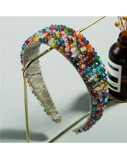 Colorful Beads Embellished Cloth Women Hair Hoop/ Headband