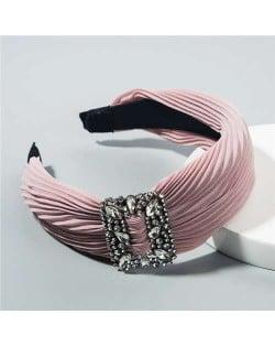 Rhinestone Buckle Decorated Pleated Cloth Korean Fashion Women Headband - Pink