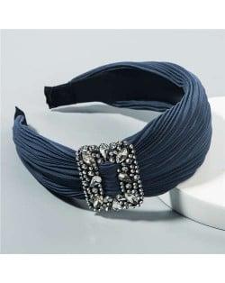 Rhinestone Buckle Decorated Pleated Cloth Korean Fashion Women Headband - Ink Blue