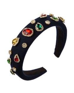 Multicolor Gems Embellished Sponge Women Bejeweled Headband - Royal Blue