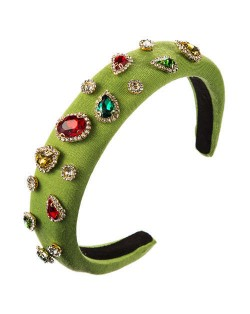 Multicolor Gems Embellished Sponge Women Bejeweled Headband - Green