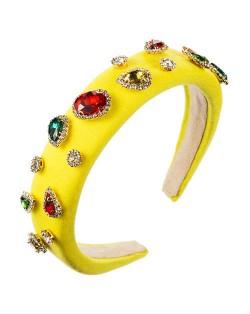 Multicolor Gems Embellished Sponge Women Bejeweled Headband - Yellow