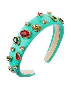 Multicolor Gems Embellished Sponge Women Bejeweled Headband - Lake Blue