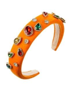 Multicolor Gems Embellished Sponge Women Bejeweled Headband - Orange