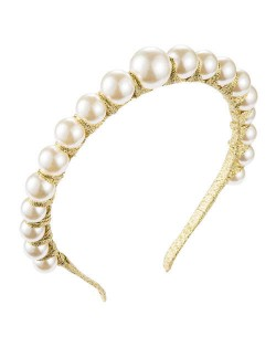 Pearl Embellished Thin Style Elegant Women Hair Hoop - Golden