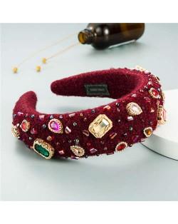Assorted Glass Gems Embellished Knitting Flannel Women Headband - Red