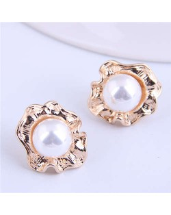 Pearl Inlaid Korean Style Golden Flower Design Women Stud Earrings