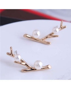 Pearl Embellished Twig Design Korean Fashion Women Stud Earrings - Golden