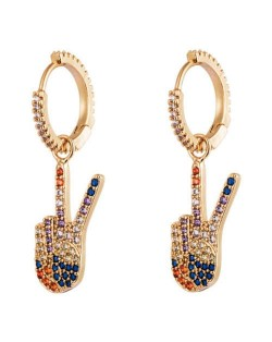 Victory Hand Gesture Multicolor Cubic Zirconia U.S. High Fashion Women Clip Earrings