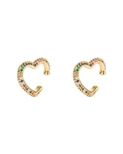 Multicolor Cubic Zirconia Inlaid Heart Design Hip Hop Fashion Women Ear Clips