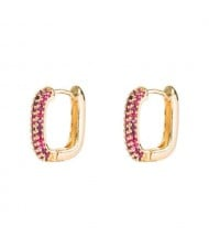 Cubic Zirconia Embellished 19K Gold Plated Hip Hop Fashion Square Hoop Earrings - Rose