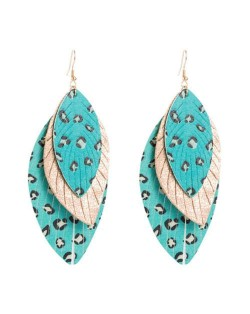 Multi-layer Leopard Prints Leaves Unique Design Bohemian Fashion Women Statement Earrings - Blue