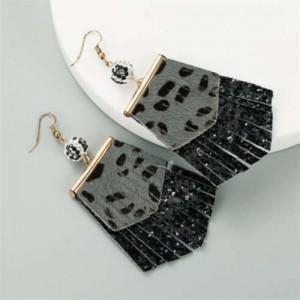 Leopard Prints PU Geometric Design Tassel Fashion Shining Women Earrings - Black