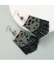 Leopard Prints PU Geometric Design Tassel Fashion Shining Women Earrings - Black