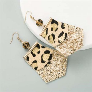 Leopard Prints PU Geometric Design Tassel Fashion Shining Women Earrings - Khaki