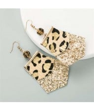 Leopard Prints PU Geometric Design Tassel Fashion Shining Women Earrings - Khaki