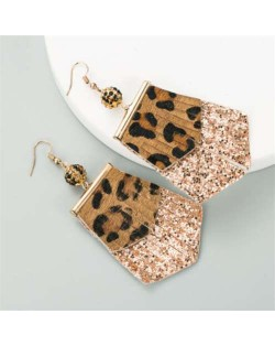 Leopard Prints PU Geometric Design Tassel Fashion Shining Women Earrings - Coffee