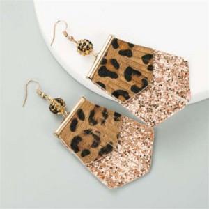 Leopard Prints PU Geometric Design Tassel Fashion Shining Women Earrings - Coffee