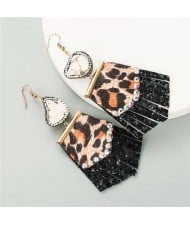 Rhinestone Embellished Natural Stone Inlaid Geometric Leather Texture Design Tassel Women Earrings - Black