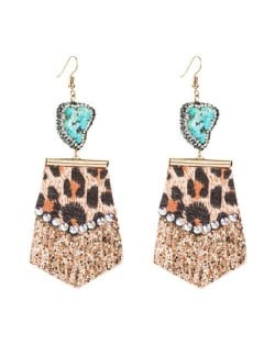 Rhinestone Embellished Natural Stone Inlaid Geometric Leather Texture Design Tassel Women Earrings - Golden